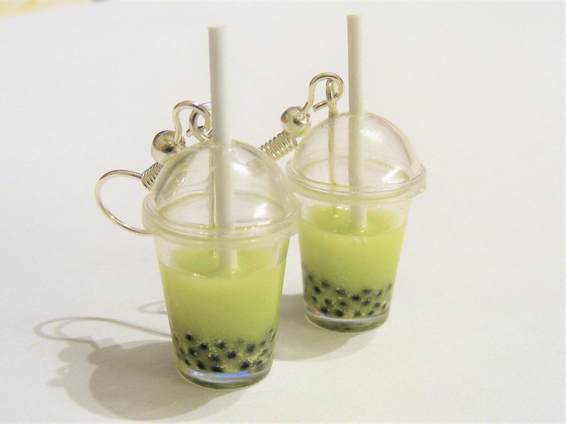 Food Jewelry Macha Boba tea Earrings Bubble tea earrings image 0