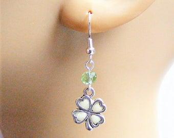 Shamrock Earrings, Lucky Charm Glow in the Dark Earrings Good Luck Earrings, Lucky Earrings, Ireland, Irish, Four Leaf Clover St Pattys Day