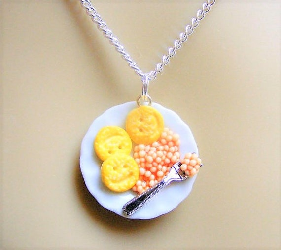 """Beans On Toast Necklace 18/"""" Silver Plated Chain"""