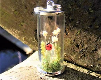 Crystal and ladybug necklace, moss terrarium pendant, quartz necklace gift for her quartz pendant healing crystal gift from Ireland nature