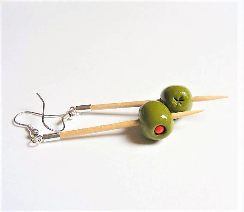 Food Jewelry Martini Olive Earrings Martini Earrings Miniature image 1
