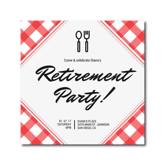 retirement party invitation 5 1 2 x 5 1 2 printable dinner