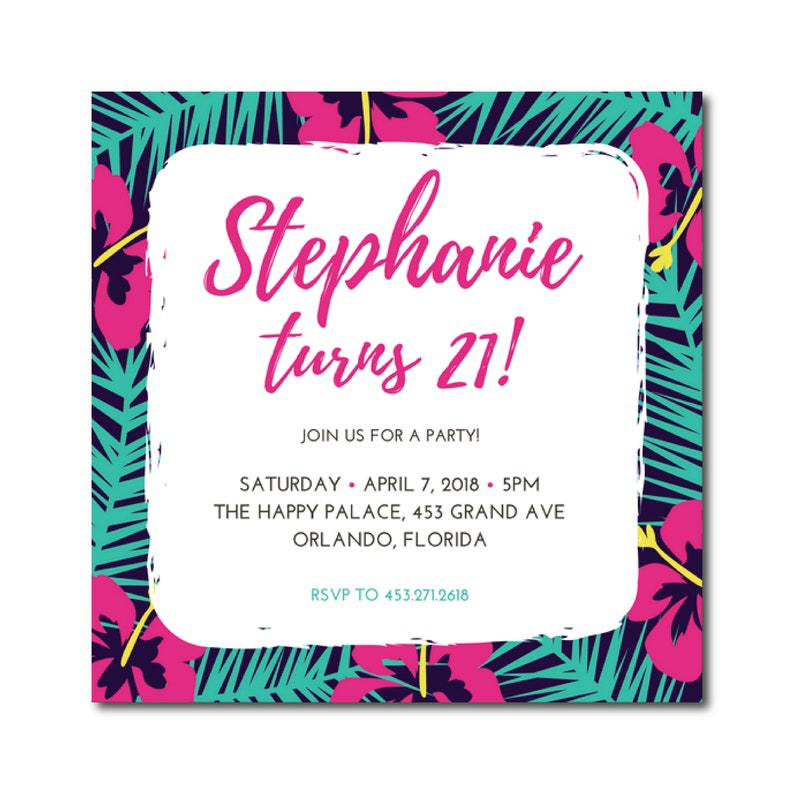 21st Birthday Party Invitation 5 1 2 X Image