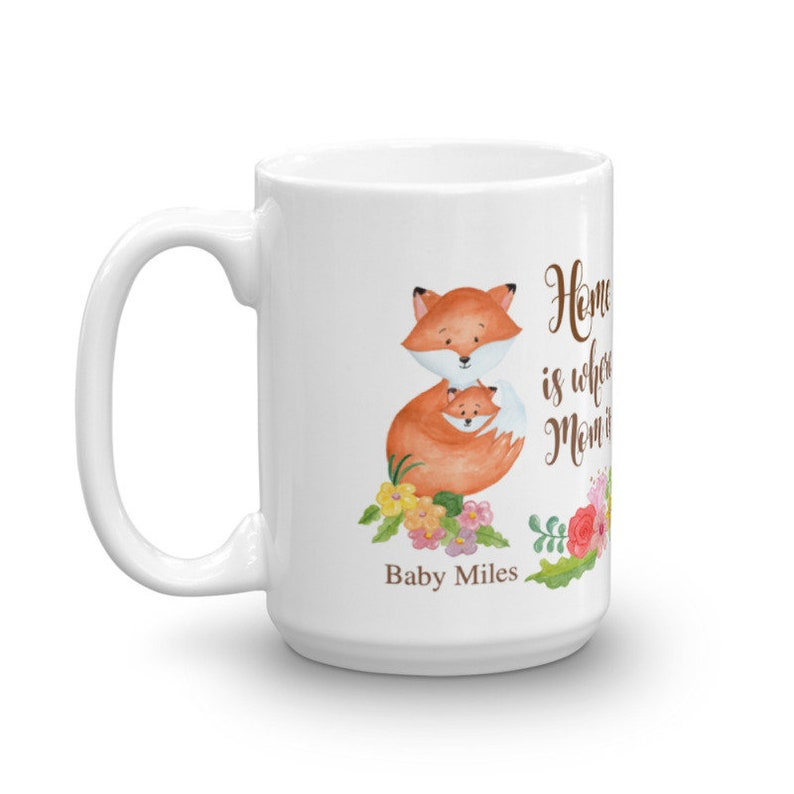 Fox and foxes babies coffee or tea mug cup personalized with names flowers,  heart