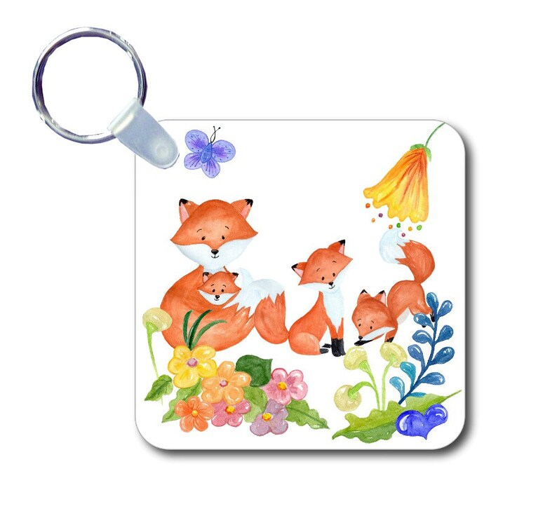 Mother mom and baby children fox foxes new baby on keychain bag tag
