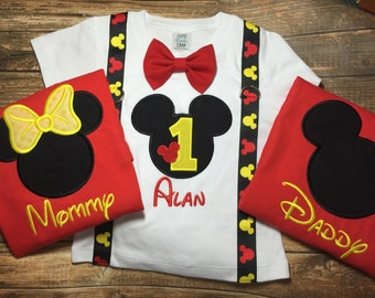 bed0b7ed8 Boys first birthday outfit with matching parent shirts-Mickey Mouse  birthday shirt-First Birthday Mickey Mouse Outfit-Mickey suspenders/Tie