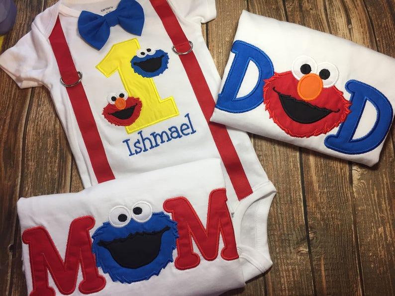 Boys Sesame Street Elmo Birthday Bodysuit Shirt Matching Parent Shirts Cookie Monster 1st