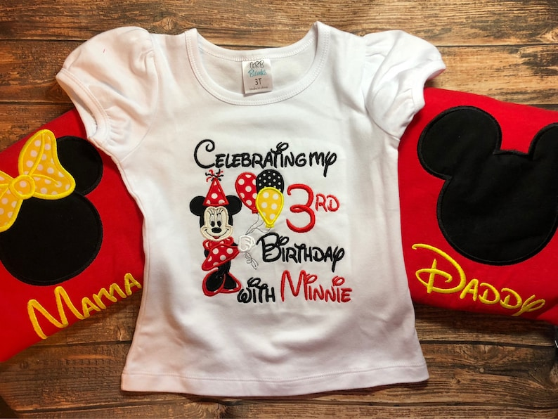 Custom Minnie Mouse Birthday Shirt With Matching Parent