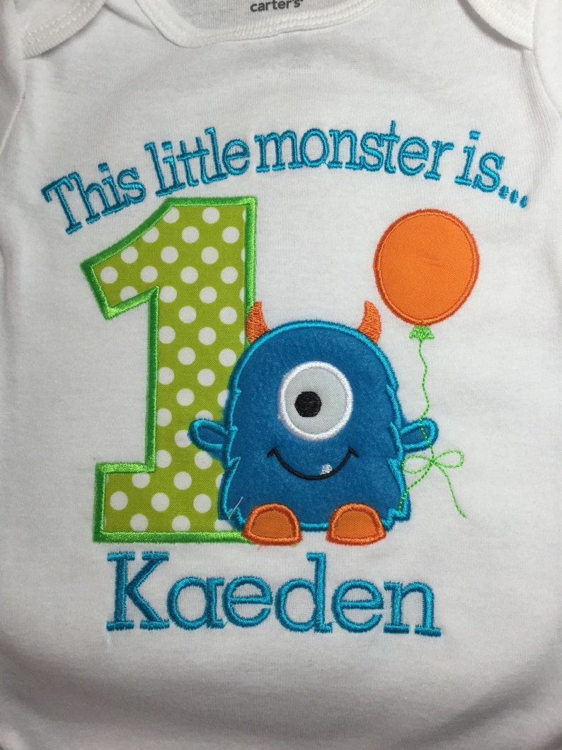 Boys Little Monster First Birthday Shirt 1st