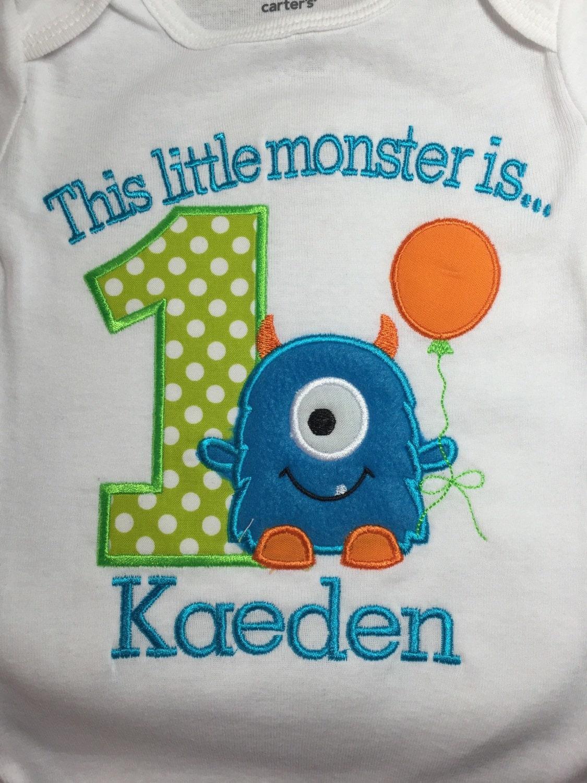 Boys Little Monster First Birthday Shirt 1st