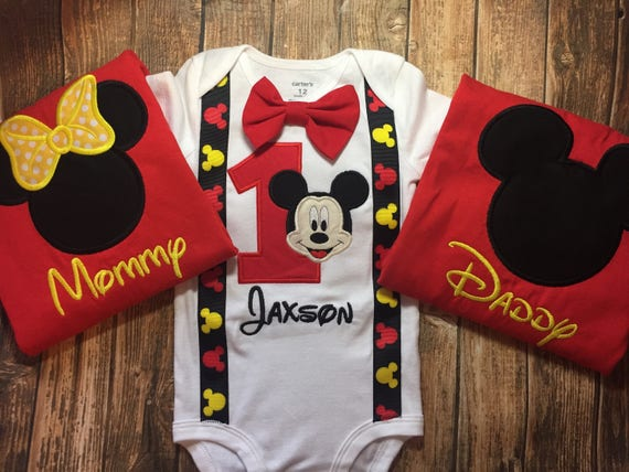 Boys Mickey Mouse Birthday Shirt Matching Parent Shirts