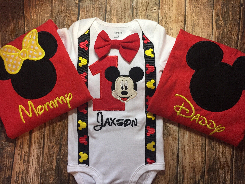 b1b49f5e4 Boys Mickey Mouse Birthday Shirt Matching Parent Shirts | Etsy