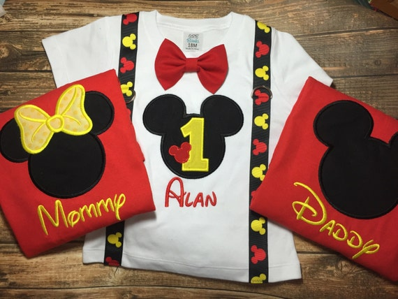 Boys first birthday outfit with matching parent shirts-Mickey  1bbca2ceb79