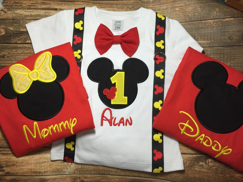 Boys First Birthday Outfit With Matching Parent Shirts Mickey