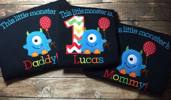 Boys Little Monster First Birthday Shirt With Matching Parent