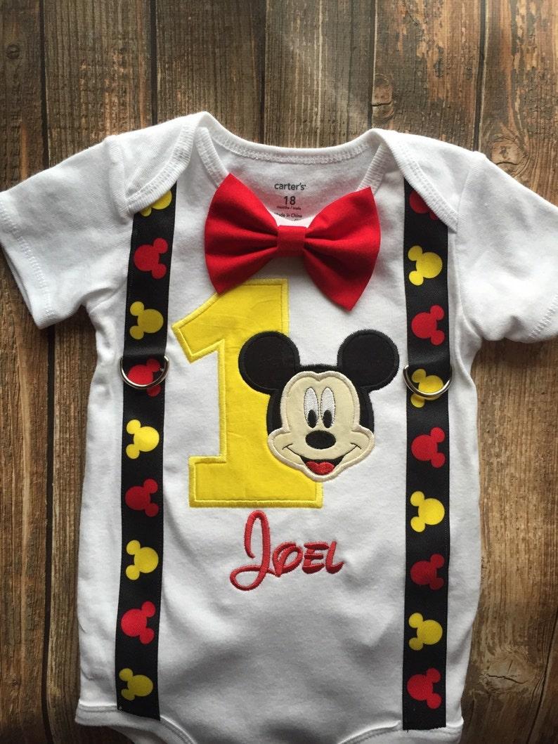 86705ebeb Custom boys first birthday Mickey Mouse bodysuit with | Etsy