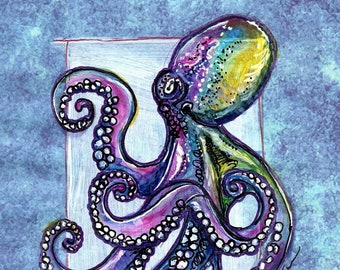Pen and Ink, Print Illustration, Giant Octopus, Art Print, Framed Art, Home Decor, Ocean Art, Housewarming Gift