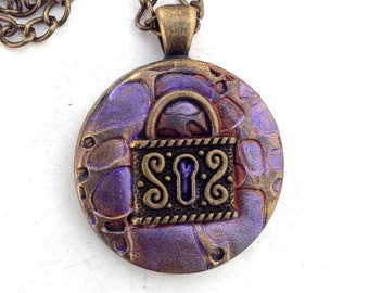 SteamPunk Jewelry, Steampunk Pendant, Polymer Clay Jewelry, Pendant, Small Pendant, Everyday Necklace, Gift for Her