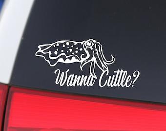 Cuttlefish, Cuttlefish Sticker, Wanna Cuttle, Ocean Art, Ocean Gift, Beach Decal, Cute Cuttlefish, Cute Sticker