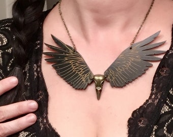 Raven Necklace, Raven Necklace, Statement Necklace, Steampunk Necklace, Tribal Jewelry, Raven Skull, Viking Jewelry, Raven Jewelry