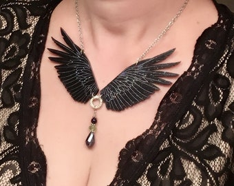 Raven Necklace, Wings Necklace, Glitter Necklace, Statement Necklace, Pagan Necklace, Good Omen Necklace, Raven, Gothic Necklace
