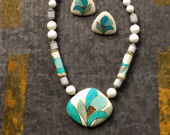 Vintage Jewelry, Vintage Necklace, 70's Jewelry, Ceramic Necklace, Boho Necklace, New 80's Jewelry, Japan, Beaded Necklace, Necklace Set