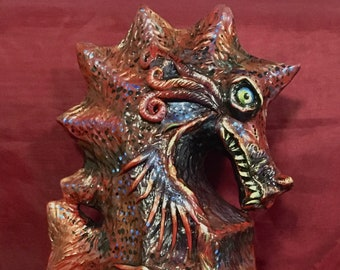 Sea Dragon, Horror Art, Horror Sculpture, Gift for Horror Lover, Horror Art, Red Dragon, Fantasy Art, Ocean Art, Scary Art, Reclaimed Art