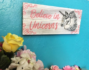 Unicorn Sign, Girl's Room, Unicorn, Glitter, Pink Glitter, Unicorn Sign Wood, Unicorn Sign for room, Unicorn Wall Art