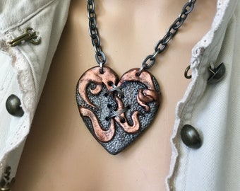 Heart Necklace, Statement Necklace, Gift for Her, Heart Pendant, SteamPunk Heart, Heart Jewelry, Broken Heart, HandMade Jewelry, Industrial