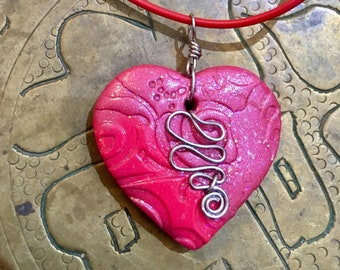 Heart Necklace, Polymer Clay Necklace, Artisan Pendant, Handmade Jewelry, Heart jewelry, Gift for Her, Mom Gift, Pink Heart, Red Heart