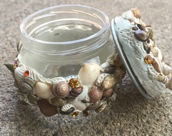 Art Stash Jar, Polymer Clay Art, Stash Jar, Small Jar, Decorative Jar, Seashell Art, Repurposed Art, Recycled Art, Swarovski Crystal