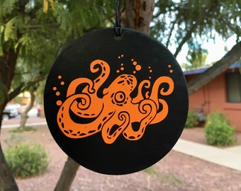 Ornament, Octopus, Tentacles, Tree Ornament, Car Decoration, Orange Octopus, Steampunk Decor, Aquatic Art, Vinyl Design, Round Ornament