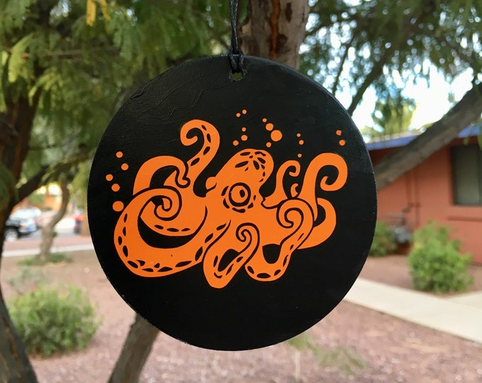 Featured listing image: Ornament, Octopus, Tentacles, Tree Ornament, Car Decoration, Orange Octopus, Steampunk Decor, Aquatic Art, Vinyl Design, Round Ornament