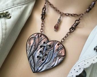 Heart Necklace, Statement Necklace, Heart Pendant, SteamPunk Heart, Heart Jewelry, Broken Heart, HandMade Jewelry, Industrial Necklace,