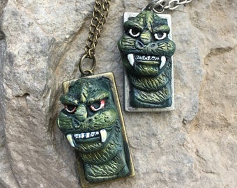 Godzilla Necklace, Godzilla, Geeky Necklace, Polymer Clay, Green, King of Monsters, Monster, SciFi Monster, Halloween