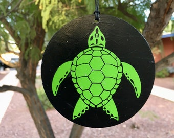Ornament, Sea Turtle, Tree Ornament, Car Decoration, Green Turtle, Steampunk Decor, Aquatic Art, Vinyl Design, Round Ornament
