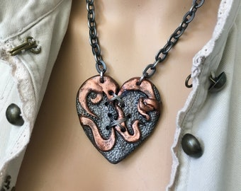 Heart Necklace, Statement Necklace, Gift for Her, Heart Pendant, SteamPunk Heart, Heart Jewelry, Broken Heart, HandMade Jewelry, Industrial