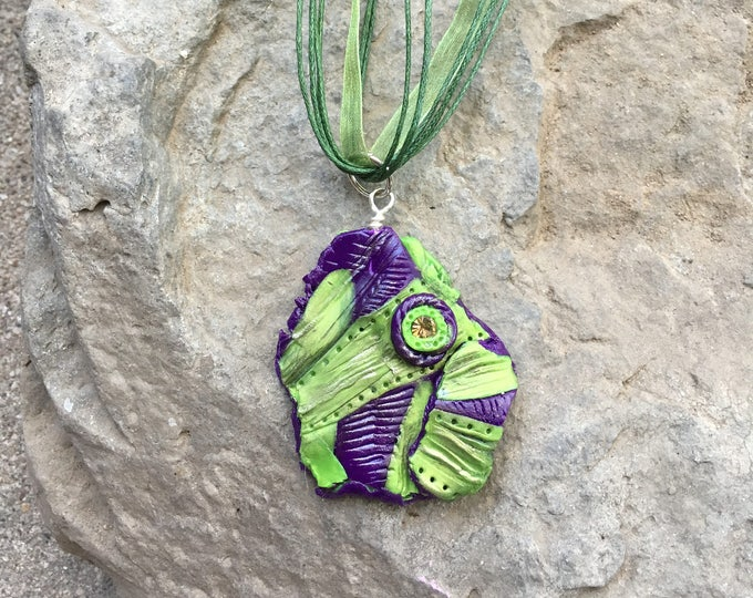 Featured listing image: Abstract Jewelry, Polymer Clay Pendant, Green Pendant, Purple Pendant, Swarovski Crystal Necklace, Avant Garde Jewelry, Dimensional Jewelry