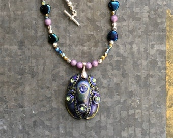 Resin Jewelry, Bug Pendant, Scarab Necklace, Gift for Her, Fantasy Jewelry, Fashion Jewelry, Swarovski Crystal, Egyptian Necklace, Mythical