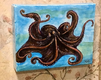 Original Art, OOAK, Acrylic Painting, Ready to Hang, Octopus, Octopus Painting, Art Print, Resin Art, Home Decor, Housewarming Gift,