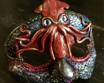 Masquerade Mask, Polymer Clay Sculpture, Swarovski Crystal, Mask, Squid, Creature Design, Art Mask, Sculpture, Black Mask, Ocean Themed Art