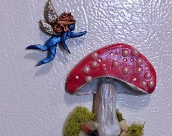Mushroom Art, Mushroom, Handmade Gift, Art for Home, Fairy Habitat, Mini Art, Fridge Magnet, Gift for girl, gift for her,