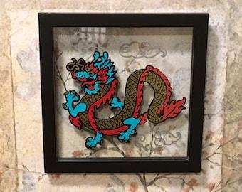 Chinese Dragon Art, Original Art, Vinyl Art, Float Frame, Glass Art, Framed Art, Dragon, Dragon Art, For Living Room, Housewarming Gift