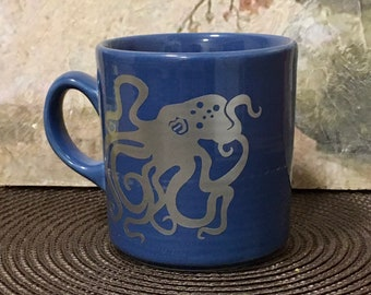 Octopus, Octopus Gift, Holiday Gift, Ocean Gift, Coffee Mug, Gift for Ocean Lover, Blue, Silver, Ocean Theme