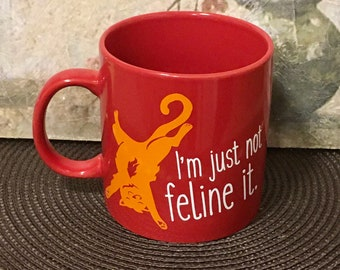 Cat, Cat Gift, OOAK, Cat Gift, Coffee Mug, Gift for Cat Lover, Red, Orange, Cat Theme, functional art, Coffee mug, soup mug