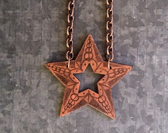 Star Necklace, Statement Necklace, Wearable Art, Star Pendant, Star Pendant, Punk Necklace, Gift for Her, Gift for Him, Gothic Necklace