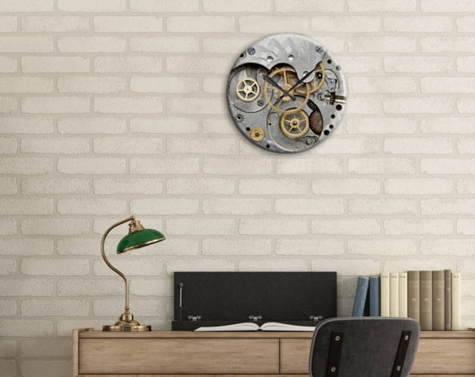 Featured listing image: Living Room Clock, Wall Clock, SteamPunk, Gear Clock, Clock, Watch Gears, Home Decor, Steampunk Clock, Gift for Dad, Holiday Gift