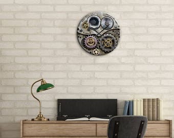 Gear Clock, Steampunk Clock, Wall Clock, SteamPunk, Clock, Watch Gears, Home Decor, Office, Gift for Dad, Holiday Gift, Office Clock