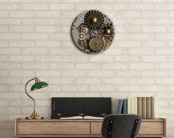 Dining Room Clock, Wall Clock, SteamPunk Decor, Steampunk, Gear Clock, Clock, Watch Gears, Home Decor, Office, Gift for Dad