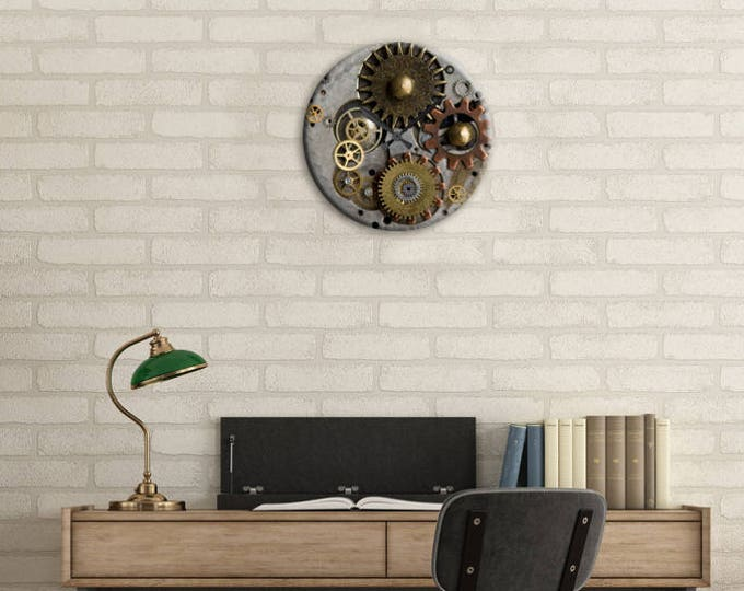 Featured listing image: Dining Room Clock, Wall Clock, SteamPunk Decor, Steampunk, Gear Clock, Clock, Watch Gears, Home Decor, Office, Gift for Dad